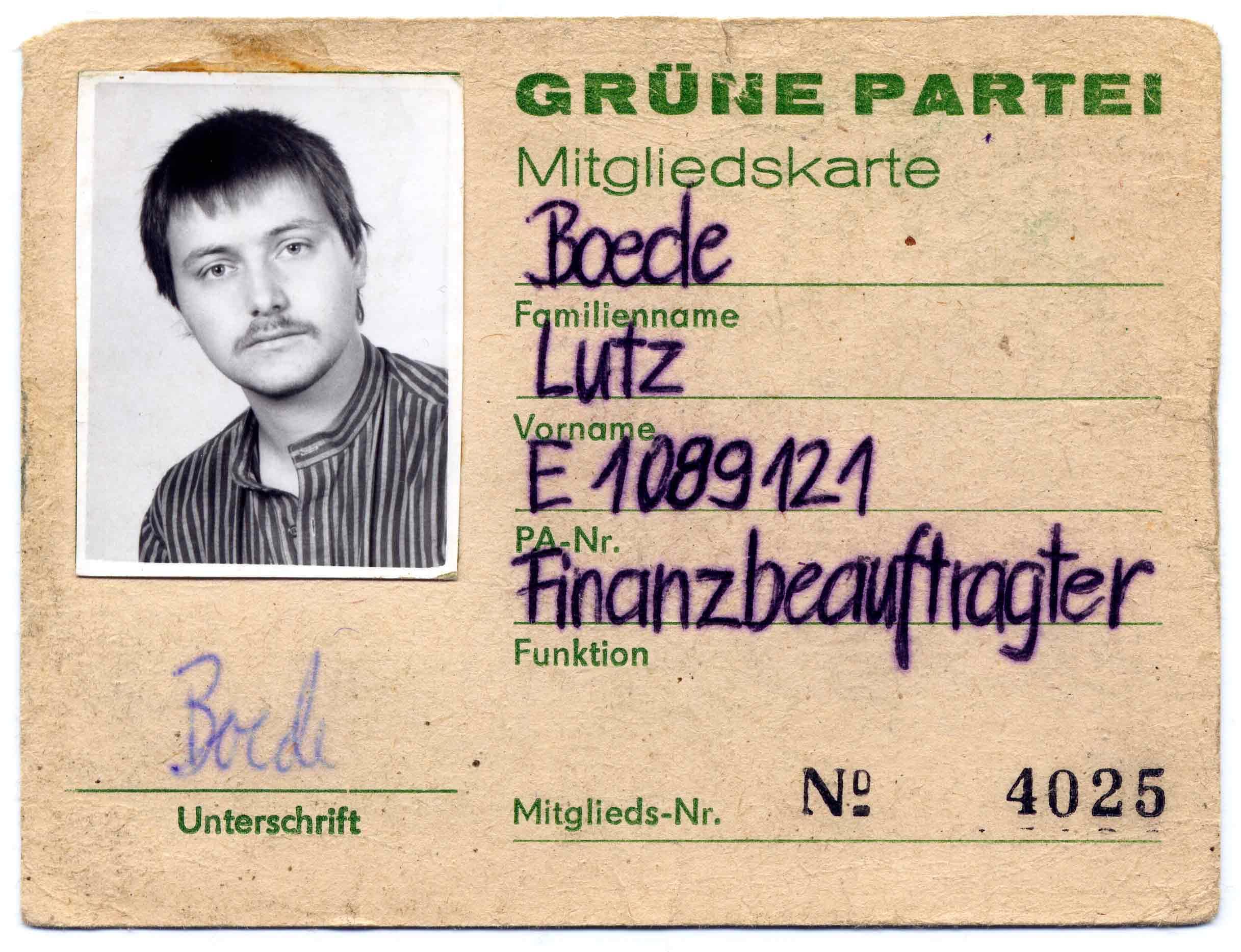 Mitgliedsausweis Gruene Lutz Boede